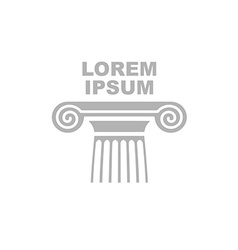 Greek column logo emblem of ancient capital vector