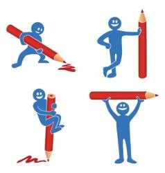 Blue stick figure vector