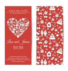 Vertical wedding invitations vector