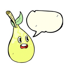 Cartoon pear with speech bubble vector