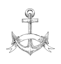 Nautical admiralty anchor with ribbon sketch vector