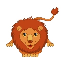 Cute cartoon smiling lion lying with fluffy mane vector