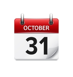 October 31  flat daily calendar icon date vector