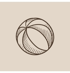 Beach ball sketch icon vector