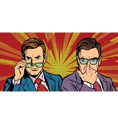 Two men with glasses look simply vector