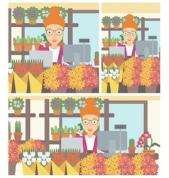 Florist at flower shop vector