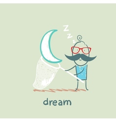 A man in a dream star catches a butterfly net vector