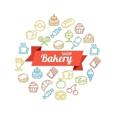 Bakery Shop Concept Outline vector image vector image