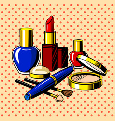 Beauty accessories comic book style vector