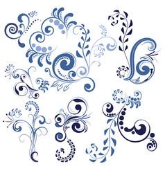 blue floral ornaments vector image