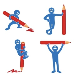 blue stick figure vector image