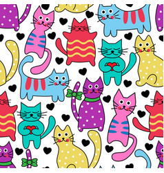 Cartoon seamless colorful cats vector