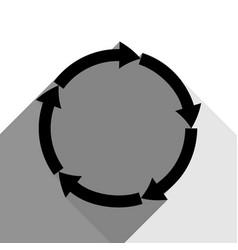 circular arrows sign black icon with two vector image vector image