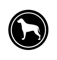 Circular frame with figure retriever dog animal vector