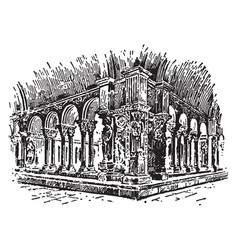 Cloister continuous and solid architectural vector
