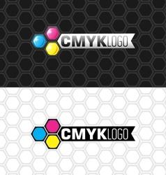 Cmyk logo and flat version vector
