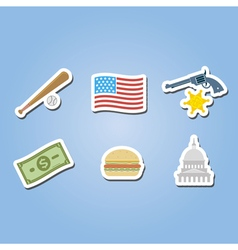 color set with usa icons vector image