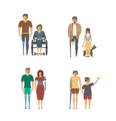 Disabled people isolated set in flat design vector
