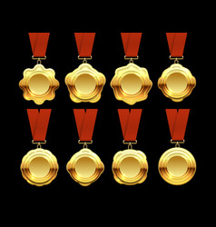 gold medals collection on red ribbons vector image vector image