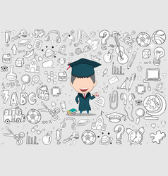 graduated boy pupils back of school background vector image vector image