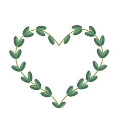 Green Vine Leaves in Beautiful Heart Shape Frame vector image vector image