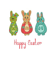 Greeting card with Easter bunny vector image