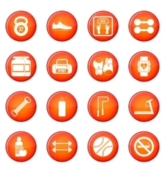 Gym icons set vector