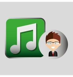 Happy businessman music network media icon vector