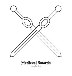 Medieval logo emblem template with outline icon vector image vector image