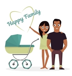 Mother and father with baby stroller vector