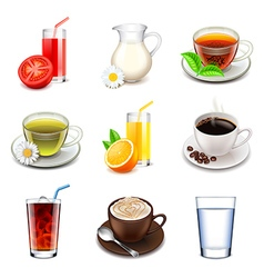 Non-alcoholic drinks icons set vector