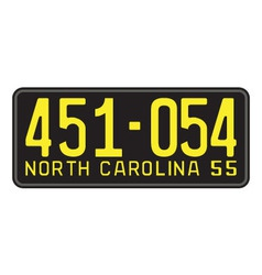 North carolina 1955 license plate vector