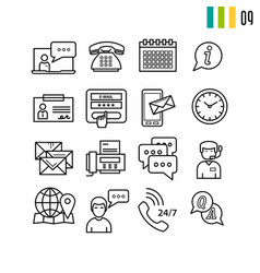 outline online support icons vector image