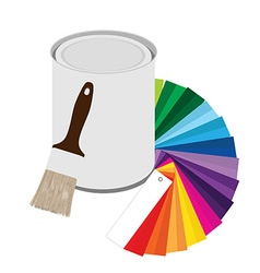 Paintbrush paint can and color guide vector image