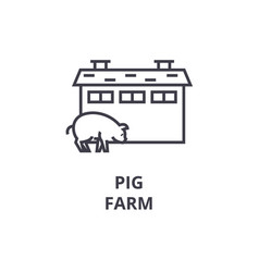 pig farm line icon outline sign linear symbol vector image vector image