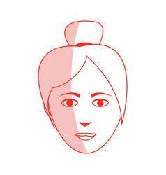 Red silhouette shading cartoon front face asian vector