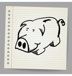 Scribble piggy bank vector image