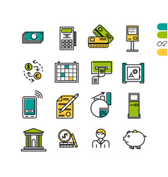 Set linear finacial colored icons vector
