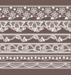 set of six lace ribbons horizontal seamless vector image