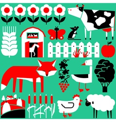set with farm objects and animals vector image vector image