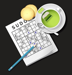 Sudoku game mug of green tea and cracker vector