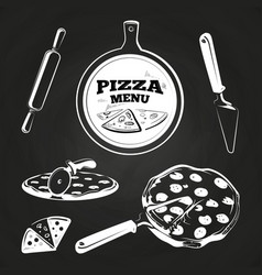 vintage pizza elements on chalkboard vector image vector image