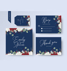 Wedding floral invite thank you rsvp card design vector