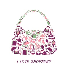 Woman accessories shopping bag vector image
