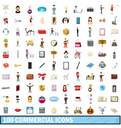 100 commercial icons set cartoon style vector image