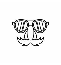 Comedy fake nose mustache eyebrows glasses icon vector image