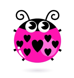 Love pink Ladybug with hearts isolated on white vector image