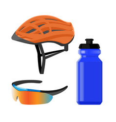 Cycling sportswear helmet plastic drinking bottle vector