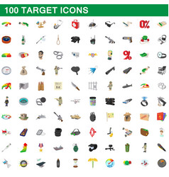 100 target icons set cartoon style vector