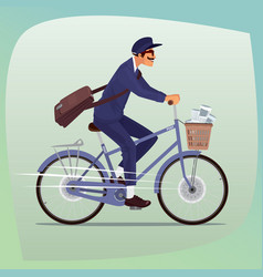 Adult funny postman rides on bicycle vector